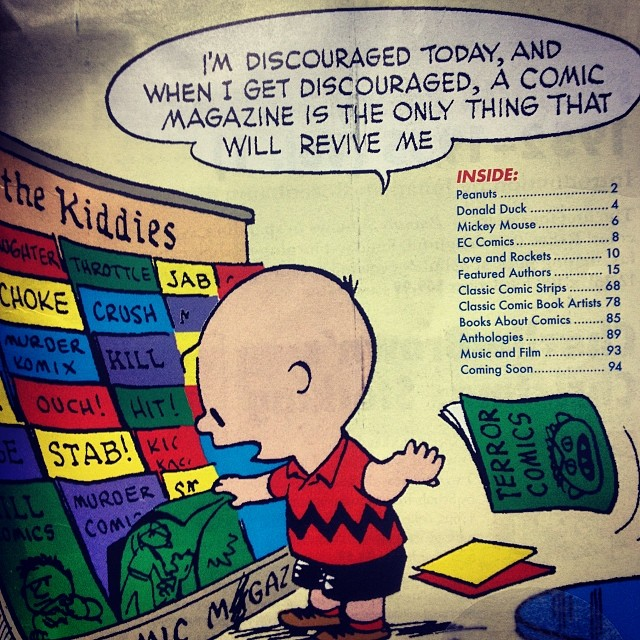 from the cover of 2014 Fantagraphics Ultimate Catalog, drawn by Charles Schulz