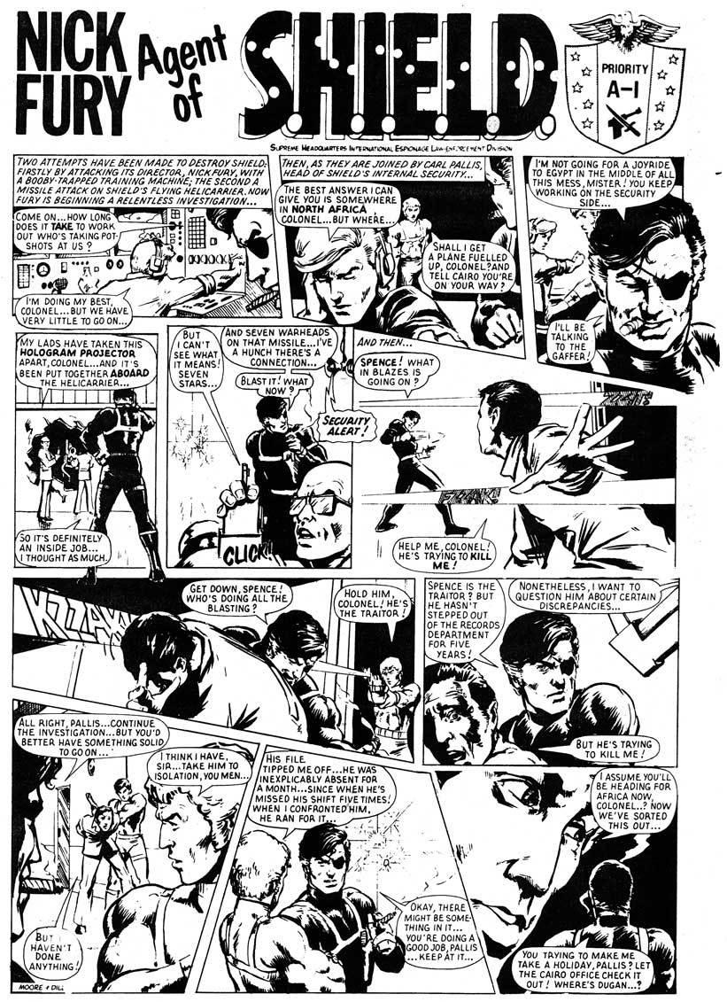 """Работа Стива Диллона """"Nick Fury, Agent of S.H.I.E.L.D."""" для журнала Hulk Weekly (редактор Дез Скинн) – 1978 год."""
